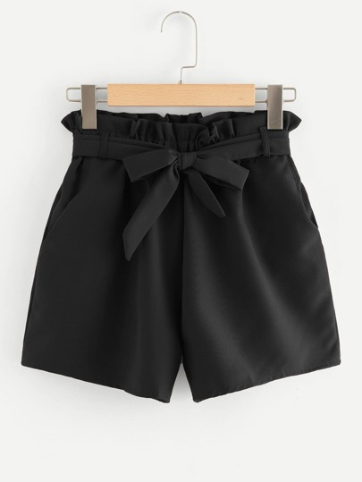 Self Tie Waist Frill Trim Shorts