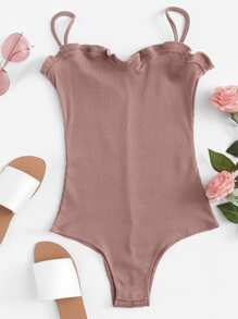 Ruffle Trim Rib Knit Strapless Bodysuit