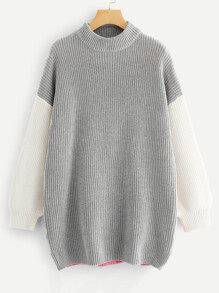 Drop Shoulder Color Block Longline Sweater