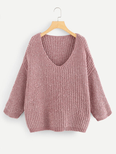 V-Neck Drop Shoulder Chenille Sweater  f731de000