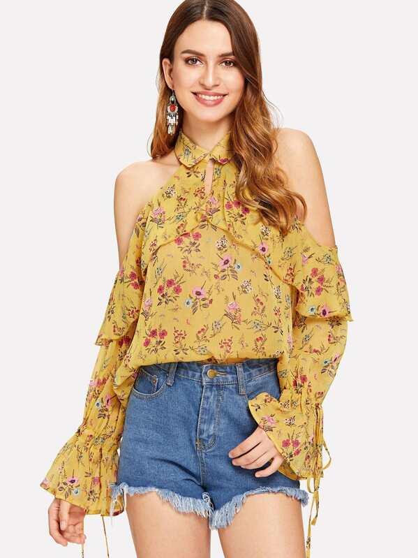 036565fede10d5 Ruffle Trim Cold Shoulder Floral Halter Top | SHEIN