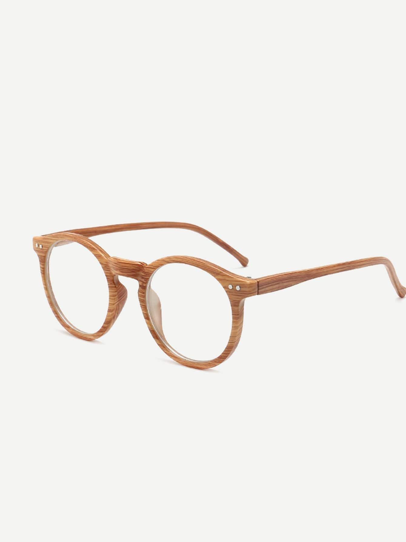 Brille mit Holz Rahmen und runder Linse - German romwe