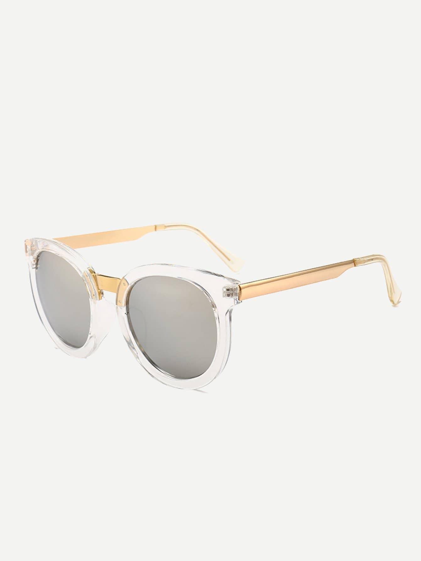 Sonnenbrille mit kontrastem Rahmen und Spiegel Linse - German romwe