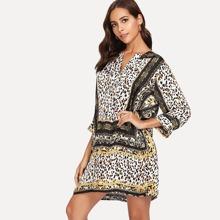 Leopard Print V Neck Dress blouse180508905