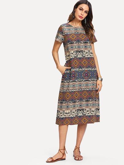 3893fa10f5 Geometric Print Hidden Pocket Dress