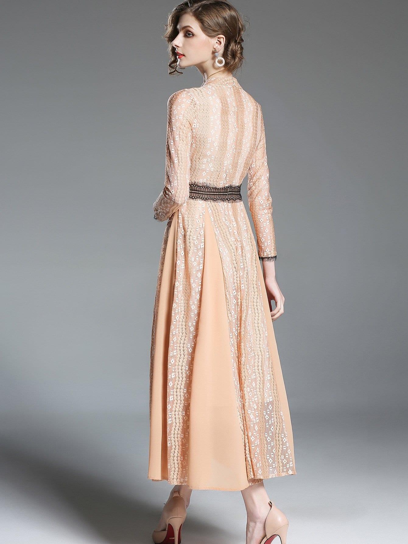 Kleid mit spitzen und plissee german shein sheinside - Plissee kleid lang ...