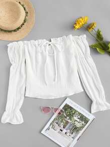 Off Shoulder Frill Trim Top