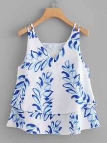 V Neckline Tiered Cami Top