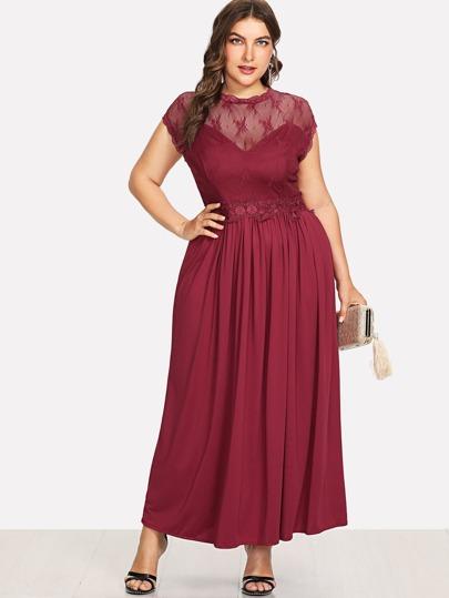 afcbcc1309 Guipure Lace Panel Dress -SheIn(Sheinside)