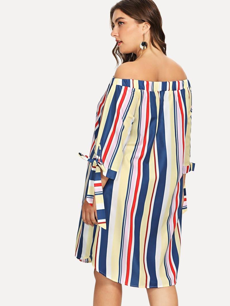 d18210c47 Vestido de rayas de puño con cordón de hombros descubiertos de talla grande