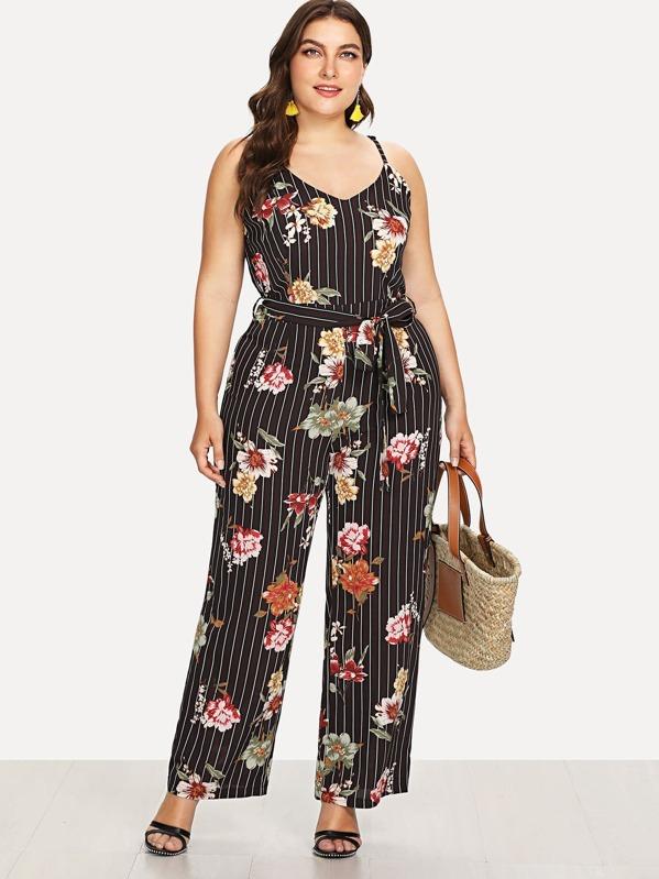 5bf359d5686 Plus Tie Waist Floral Print Striped Jumpsuit