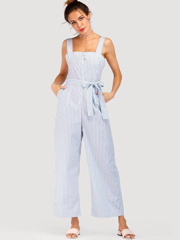 2dbf2f6c2c6 Striped Belted Wide Leg Jumpsuit