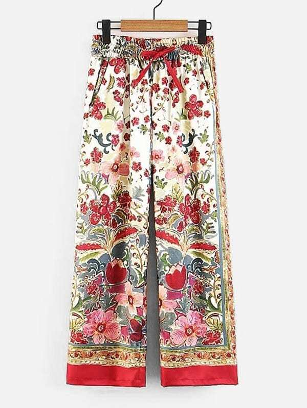 Floral Print Drawstring Wide Leg Pants by Sheinside