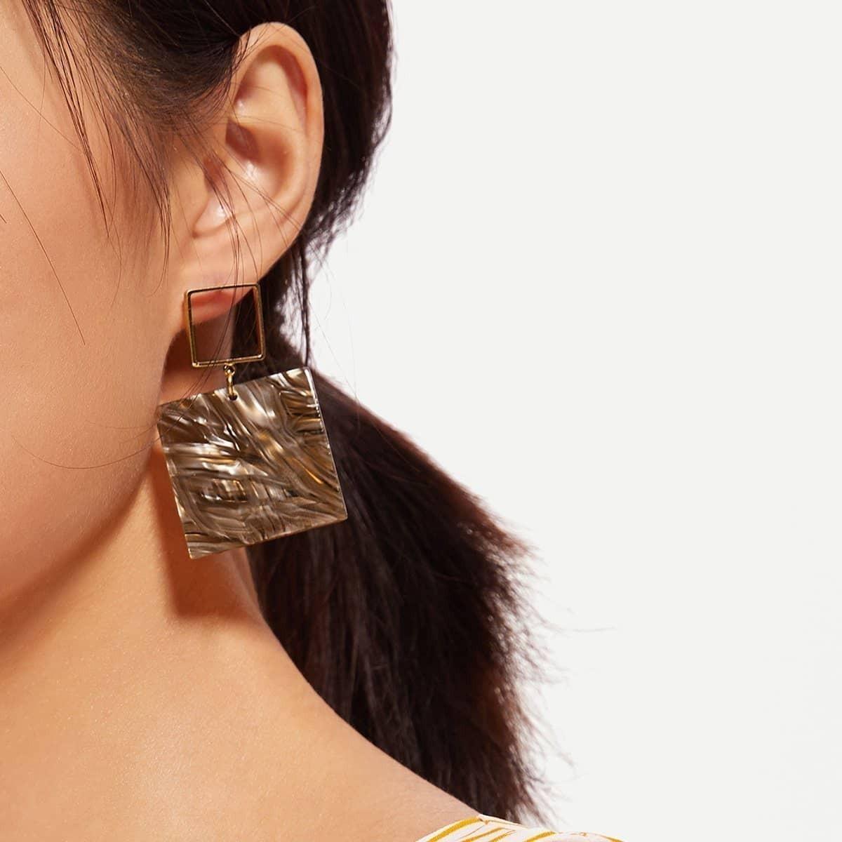 - Square Drop Earrings