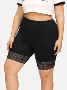 Plus Lace Panel Hem Shorts