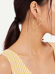 Hoop Earrings With Chain 1pair