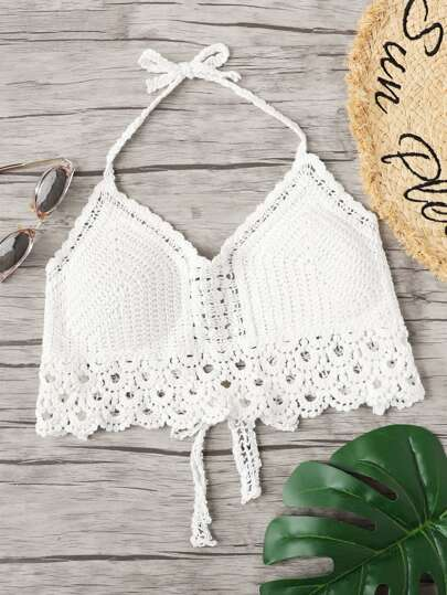 Hollow Out Crochet Halter Top