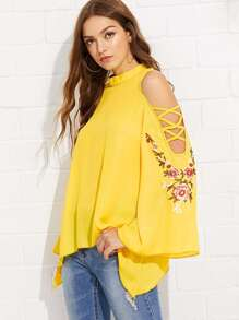 Crisscross Open Shoulder Embroidery Bell Sleeve Blouse
