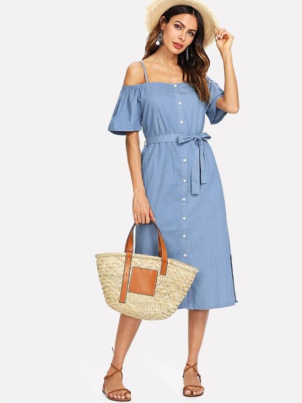9ee2357ad94c Open Shoulder Tie Waist Denim Shirt Dress