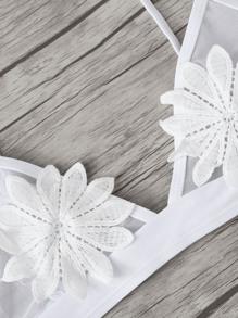 0f30694bb9 Applique Mesh Top With Ladder Cut-out Bikini | SHEIN