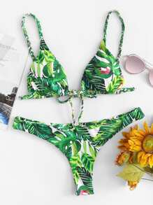 Tropical Print Top With High Leg Bikini Set
