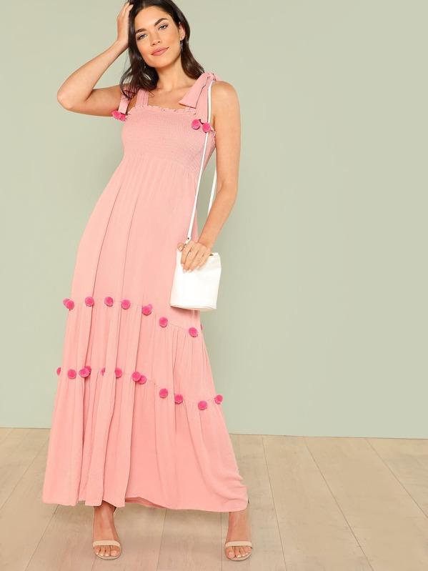 c0d65b7a90 Tie Shoulder Pom Pom Detail Dress | SHEIN