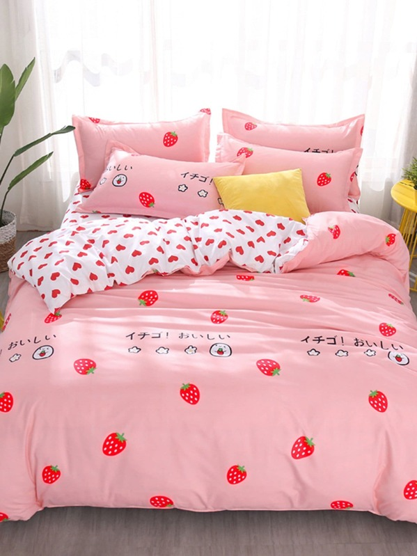 96b0d67902 Strawberry & Heart Print Sheet Set | SHEIN UK