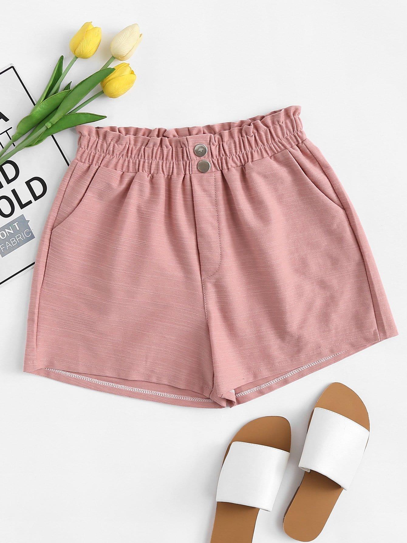 Shorts ribete fruncido con diseño de botón -Spanish Romwe