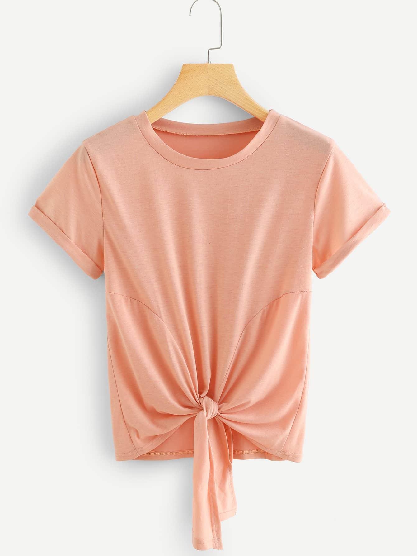 Camiseta de puño de doblez bajo con nudo -Spanish Romwe