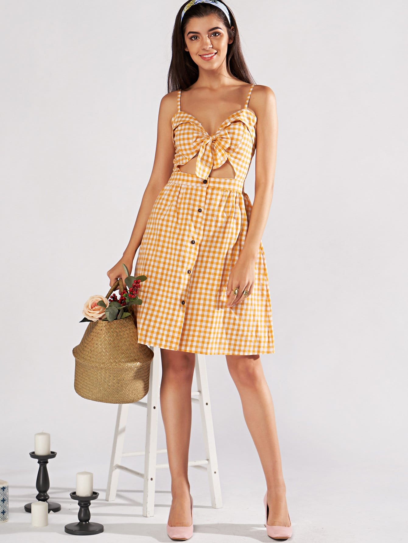 Single Breasted Knot Plaid Cami Dress by Romwe