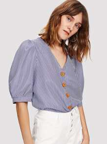 Button Front Puff Sleeve Striped Blouse