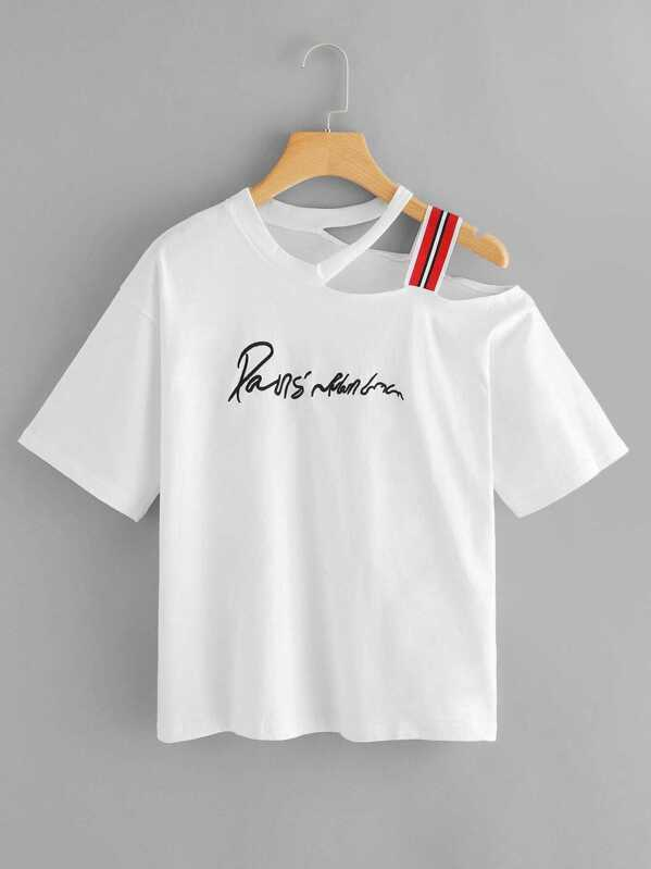 8156e870c99 Striped Tape One Shoulder Letter Embroidered Tee