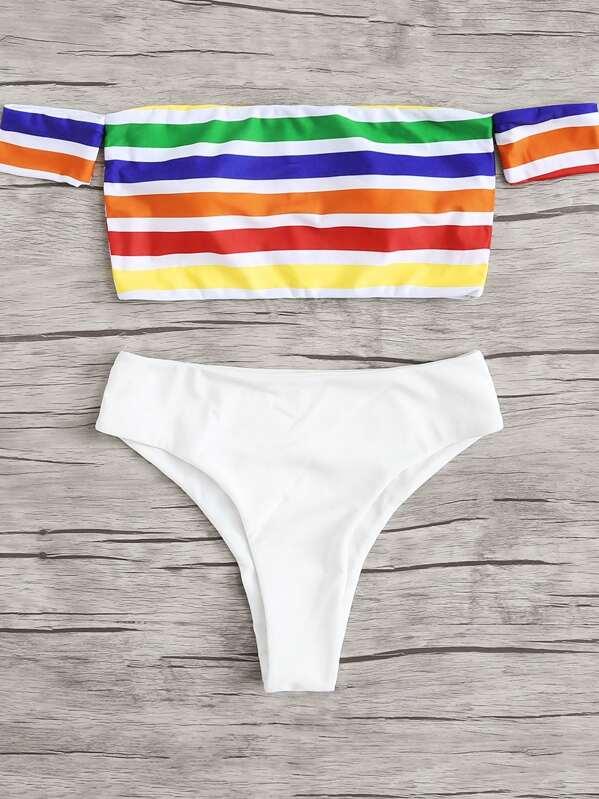 8a246723fb Cheap Rainbow Striped Bardot Bikini Set for sale Australia | SHEIN