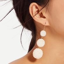 Faux Pearl Ball Drop Earrings 1pair