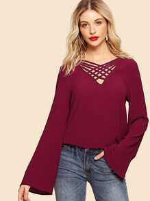 Bell Sleeve Caged V Neck Blouse