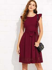 Flounce Trim Laser Cut Out Hem Dress