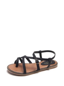 Toe Ring Strappy Flat Sandals