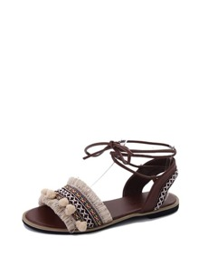 Pom Pom Detail Tie Leg Sandals