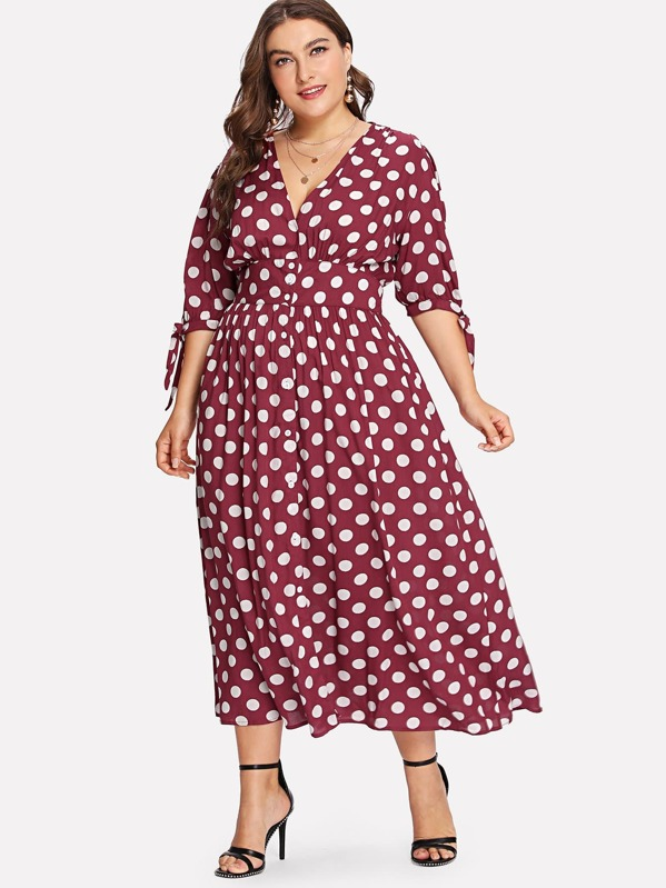 7d39a4002c Plus Fit & Flare Polka Dot Dress | SHEIN UK