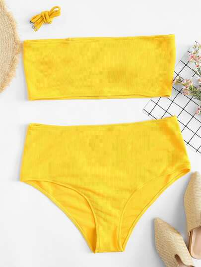 Plus Rib Knit Bandeau With High Waist Bikini Set