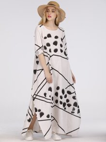 Split Side Graphic Print Longline Dress