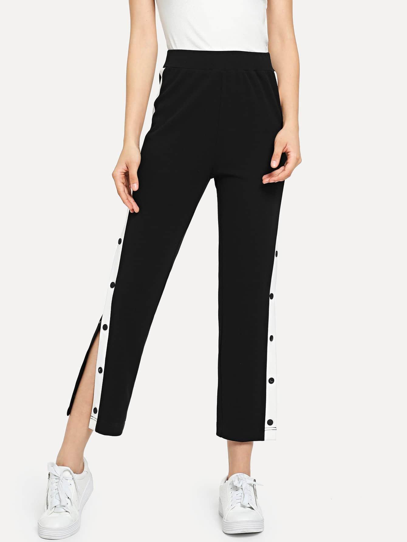 4607e2aaf18 Contrast Snap Button Side Pants -SheIn(Sheinside)