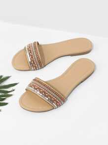 Beaded Detail Slide Sandals