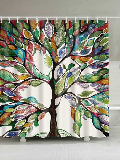 Tree Pattern Shower Curtain 1pc With Hook 12pcs