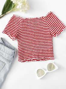 Lettuce Trim Striped Top