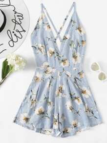 Criss Cross Back Floral Romper