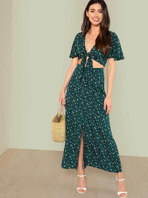 e87a371e0c Bell Sleeve Knot Top & Button Up Skirt Set | SHEIN