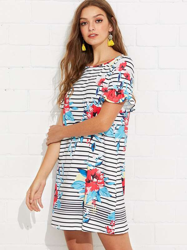 f64388867fd Floral and Striped Print Tunic Dress | SHEIN UK