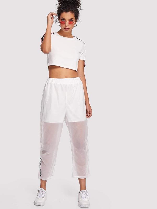 vêtements de sport de performance meilleur service livraison rapide Vêtements Femme SHEINPantalon transparent imprimé lettre ...
