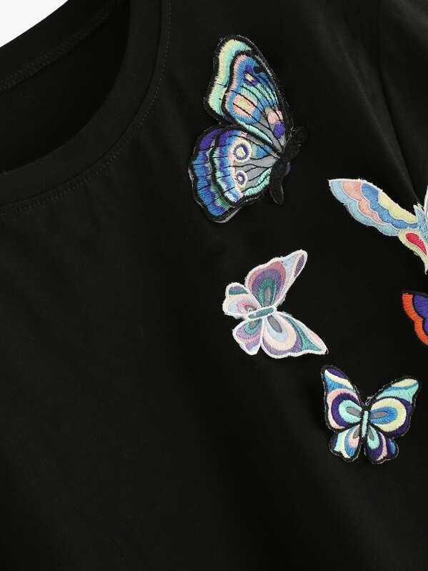 Camiseta Camiseta Camiseta Con Mariposa Con 3d Aplique Mariposa 3d Aplique yv7gYbf6